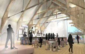 Architect's Drawing of a Renovated Drill Hall Interior (c) Alex Vick
